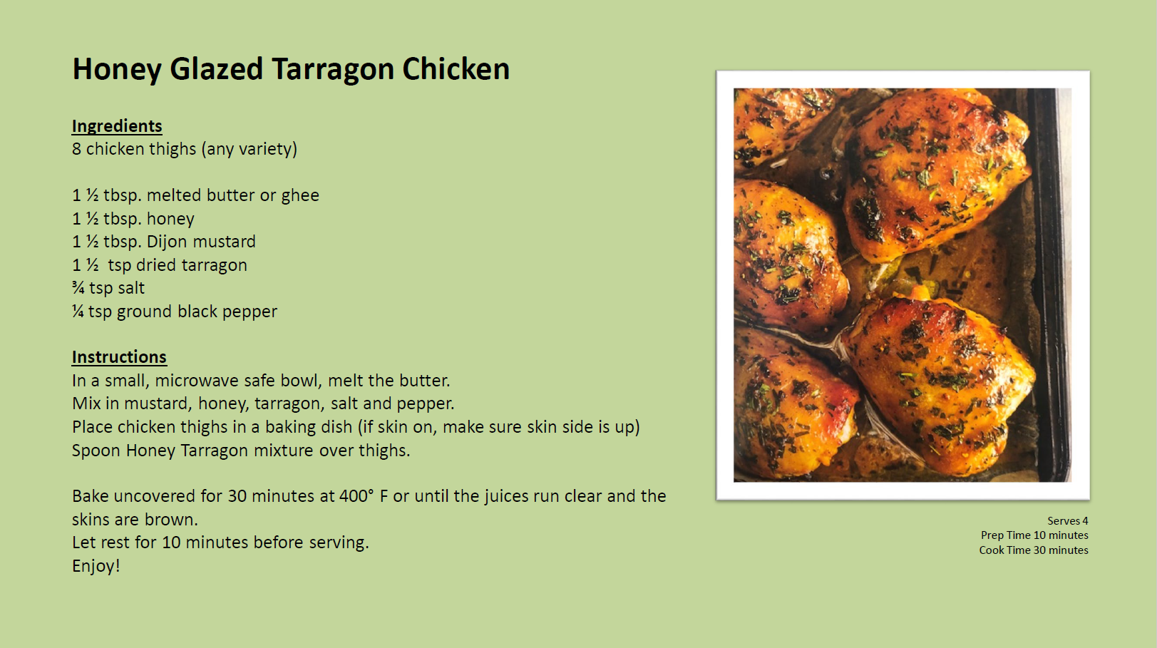 Honey Glazed Tarragon Chicken
